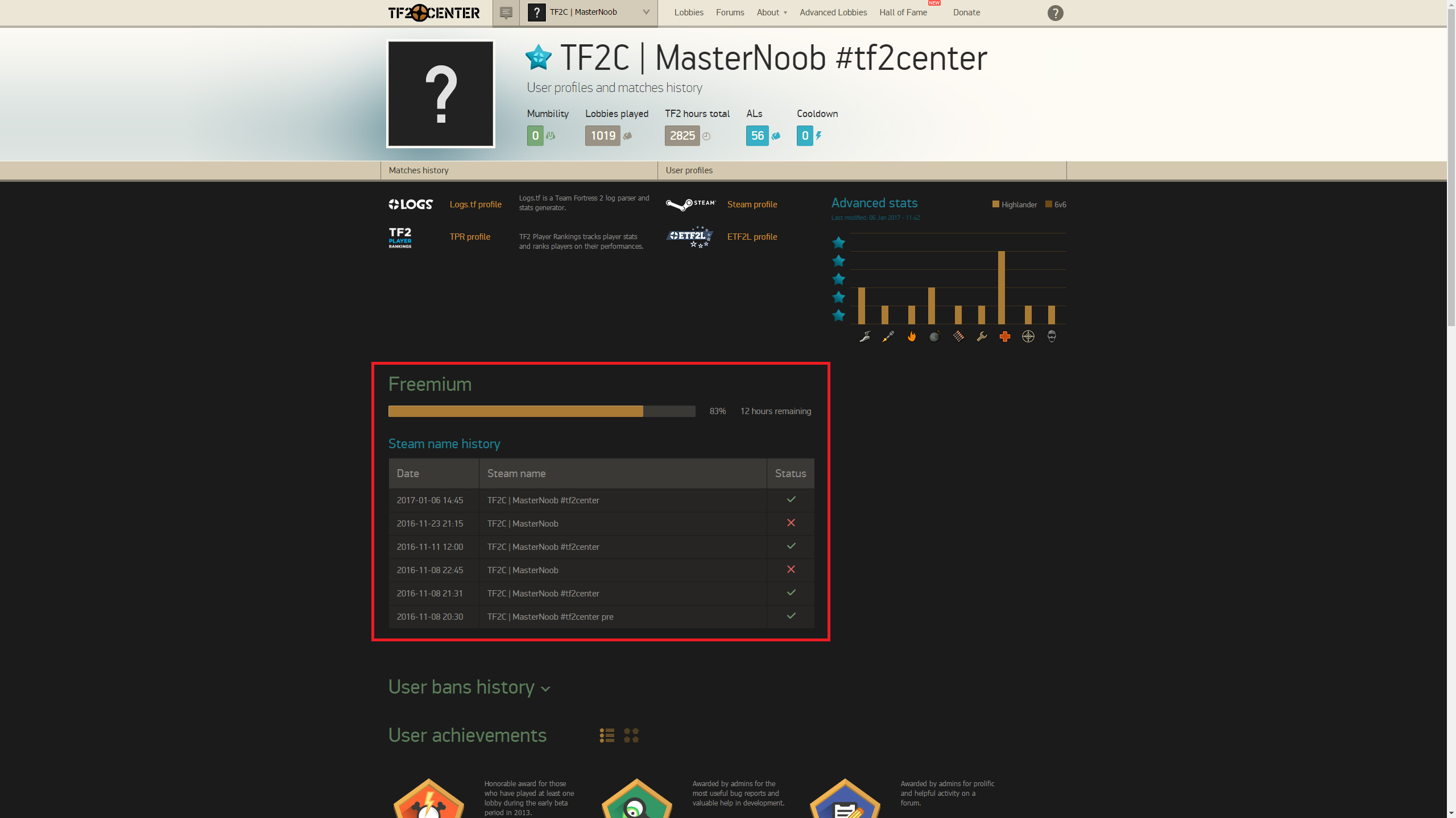 Freemium at TF2Center Profile